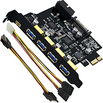 Expand Another Two USB 3.0 Ports Mailiya PCI-E to Type-C Mini PCI-E USB 3.0 Hub Controller Adapter with Internal 20-Pin Connector A 5-Port USB 3.0 PCI Express Card and 15-Pin Power Connector