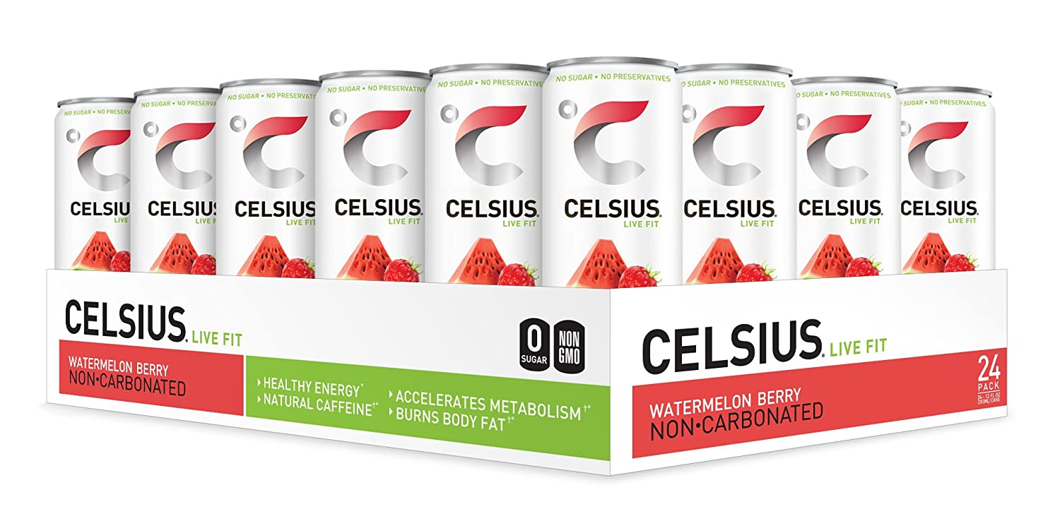 CELSIUS Sweetened with Stevia Watermelon Berry Non-Carbonated Fitness Drink, Zero Sugar, 12oz. Slim Can, 24 Pack