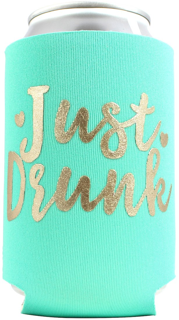 11pc or 6pc Set Drunk in Love & Just Drunk Can Coolers for Bachelorette, Bridal Shower, Wedding. 4mm Thick Bottle Sleeves, Can Coolies, Beverage Insulators (11pc Set, Aqua & Gold) by Bachelorette to Bride (Image #4)
