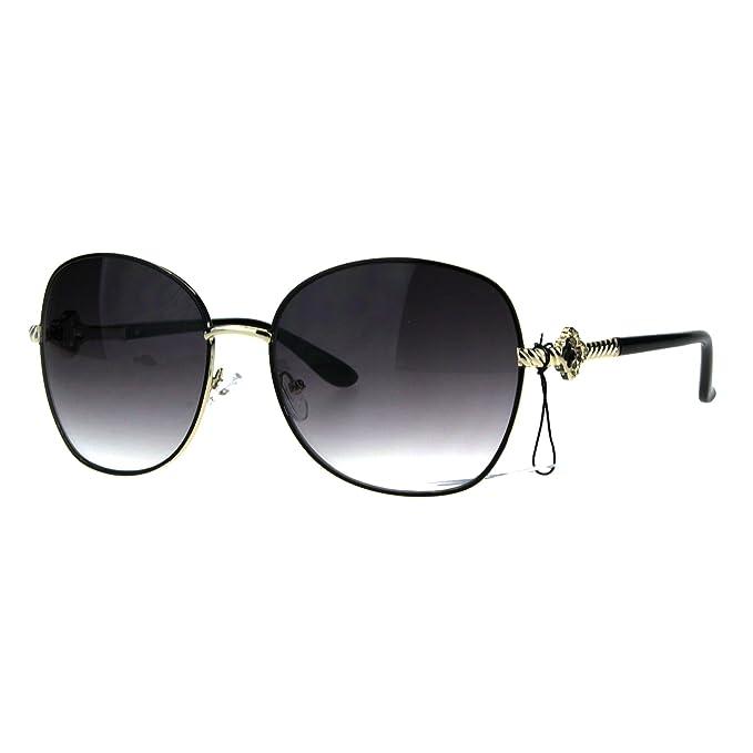 2d3b6207590 Amazon.com  Womens Jewel Arm Hinge Metal Rim Butterfly Diva Sunglasses Black  Smoke  Clothing