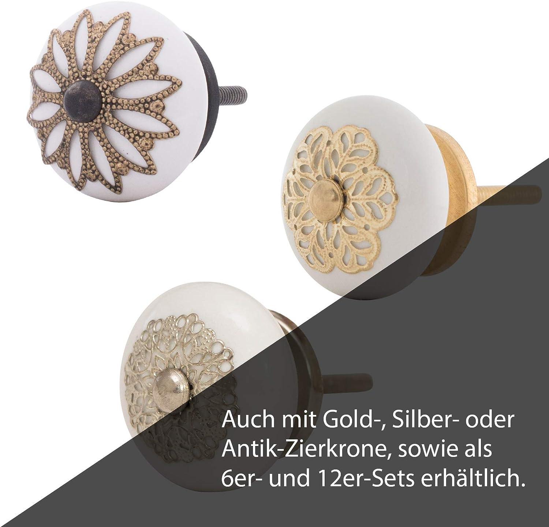 Knober M/öbelkn/öpfe Edel Keramik Wei/ß Porzellan 40mm Landhausstil Shabby-Chic Schrankknopf T/ürgriff ADLO 30