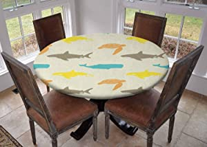 """Round Tablecloth Kitchen Decoration,Table Cover with Elastic Edges,Diameter 60"""",Pattern with Whale Shark and Turtle Aquarium Doodle Style Marine Life Ivory Taupe Peach,Can Wipe Tablecloth"""