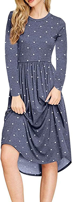 HAOMEILI Women Long Sleeve Pleated Polka Dot Pocket Swing Casual Midi Dress