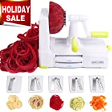 5-Blade Spiralizer Vegetable Spiral Slicer, Noodle Maker, Fruits and Veggies Slicer for Low Carb/Paleo/Gluten-Free Meals with Labeled Blades and Storage Box, Cleaning Brush, Mini Recipe Book