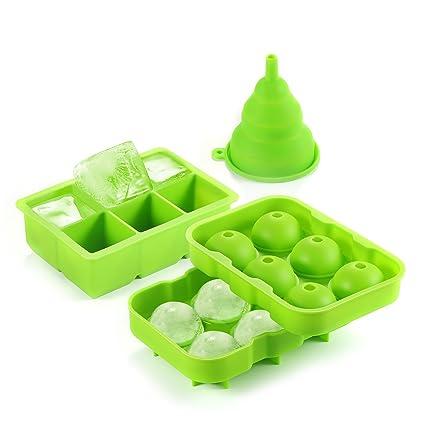 AQV Bandejas para Hielo[Paquete de 3]Molde de Hielo Silicona sin BPA Bandeja