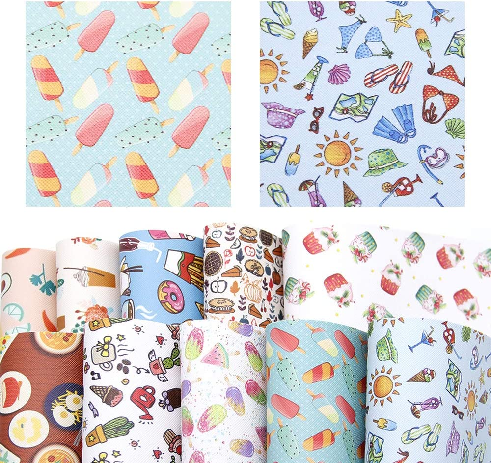 David accessories Ice Cream Food Pattern Printed Faux Leather Sheet Synthetic Leather Fabric 10 Pcs 7.7