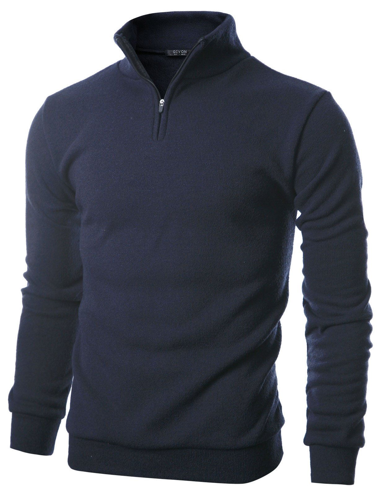 GIVON Mens Slim Fit Quarter Zip Up Long Sleeve Mock Neck Pullover Sweater/DCP046-NAVY-3XL