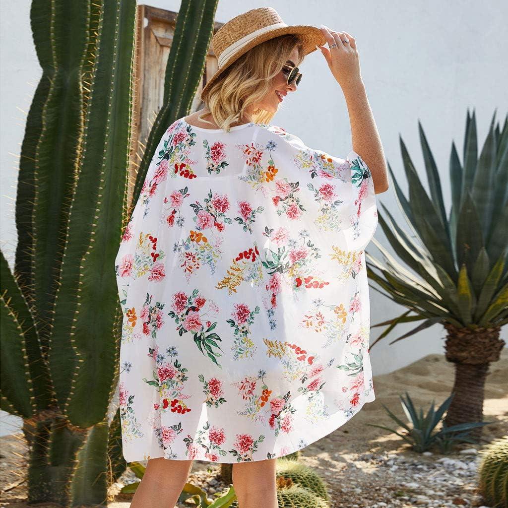 Meikosks Womens Flowy Kimono Cardigan Floral Print Shawl Tops Beach Chiffon Blouse Loose Outwear