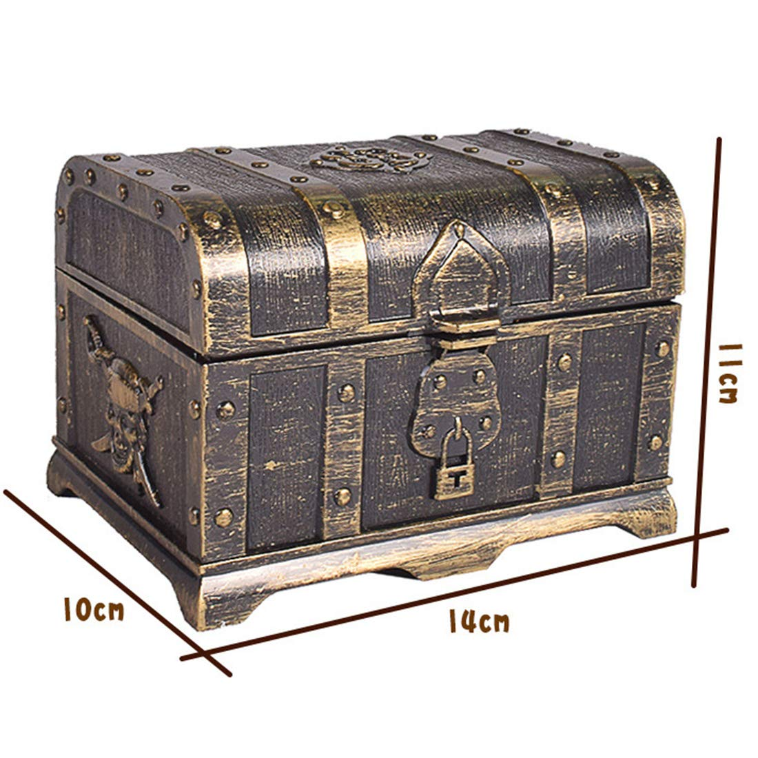 Empty Box Yamix Pirate Haunted Treasure Box Treasure Chest Box Jewelry Box Jewelry Storage,Cards Collection,Gifts Home Decoration