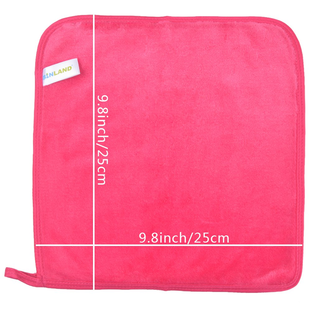 Sinland Microfiber Makeup Remover Cloth Face Cloths Facial Cleaning Towels Fast Drying Washcloth 400 gsm 9.8Inchx9.8Inch 4 Pack Dark Pink by Sinland (Image #5)
