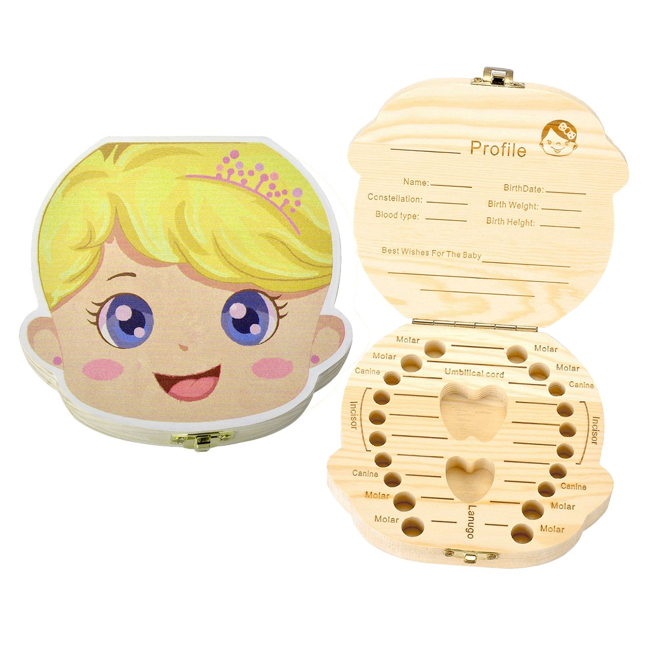 Mogoko Cute Print Baby Tooth Box, Wooden Milk Teeth Storage Case Lost Tooth Organizer for Girl (English, Princess)