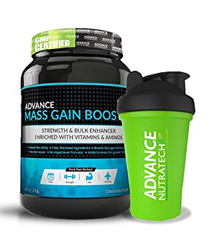 Advance Nutratech Mass Gain Booster 4Lbs Chocolate With Shaker 600Ml Mass & Weight Gainers at amazon