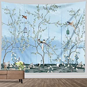 Flower Tree Tapestry for Girls Small, Spring Asian Plant Tree Bird Tapestry Japanese Art Wall Hanging Fabric Home Decor for Bedroom Living Dorm Wall Blanket Cherry Blossom