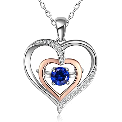 c9a264af2f24e Caperci Sterling Silver Created Crystal Rhinestone Gemstone Double Heart  Pendant Necklace, 18