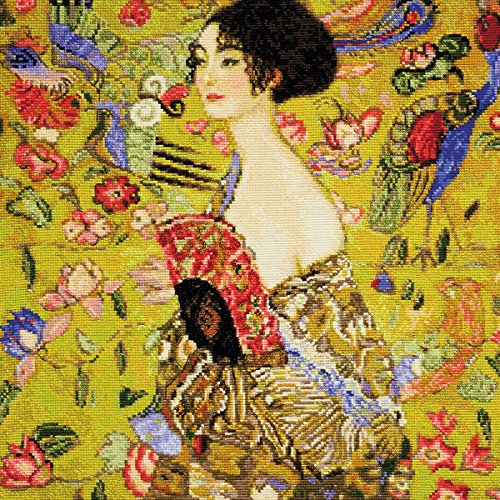 Lady With A Fan/G. Klimt's Painting Counted Cross Stitch Kit