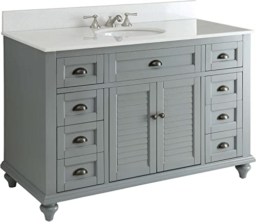 Glennville 49 Cottage Bathroom Vanity Cabinet Set in Grey GD28329CK