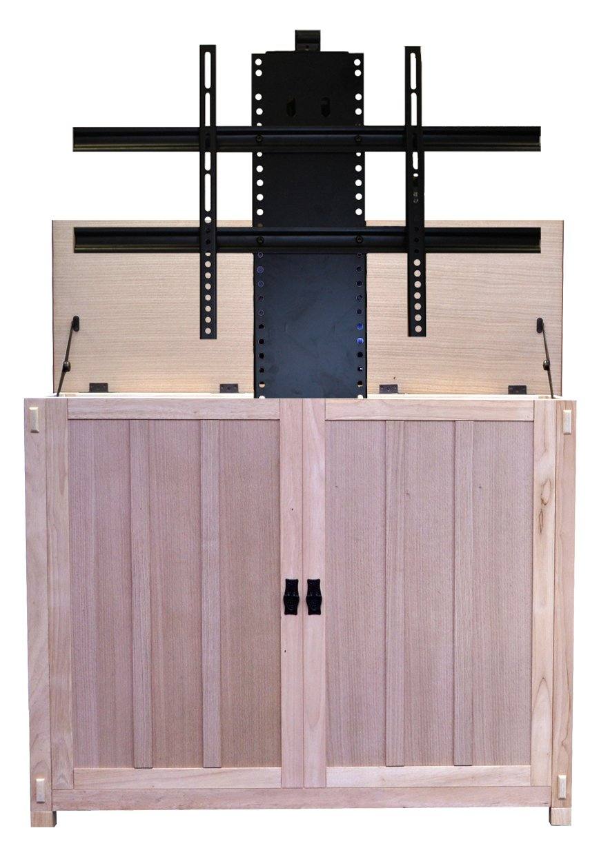 Touchstone 72106 – Elevate TV Lift Cabinet – TVs Up to 50 Inch Diagonal 45 Wide TV Mission Unfinished – 50 in Wide – Quiet Quick Whisper Lift II TV Lift Wired Wireless RF Remote