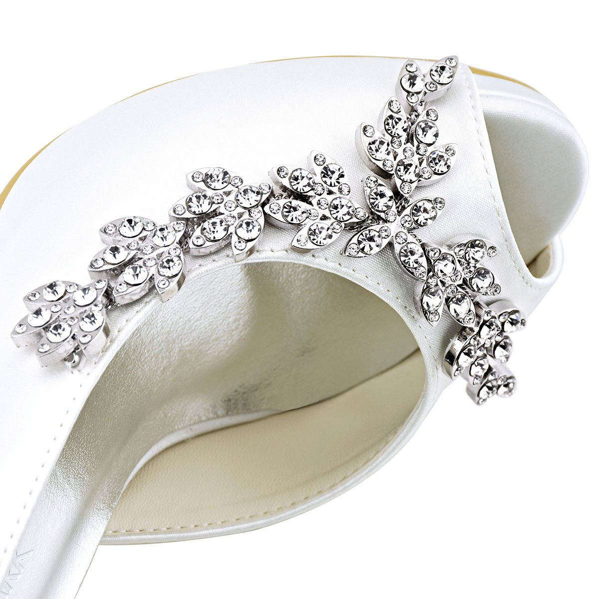 ElegantPark Women's Peep Toe Platform High Prom Heel Rhinestones Satin Evening Prom High Wedding Shoes B018THY9H0 8 B(M) US|White 31b951