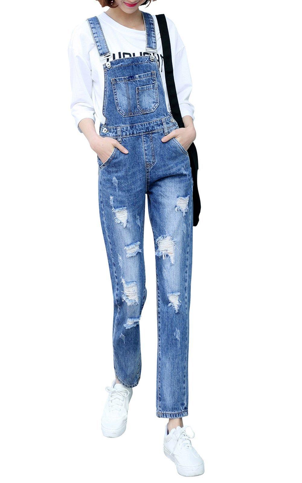 Women's Adjustable Strap Ripped Distressed Original Denim Overalls (M, Denim Blue)