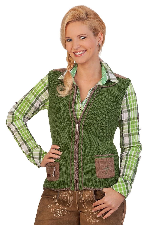 Damen Trachten Strickweste - WINDAU - braun, grasgrün