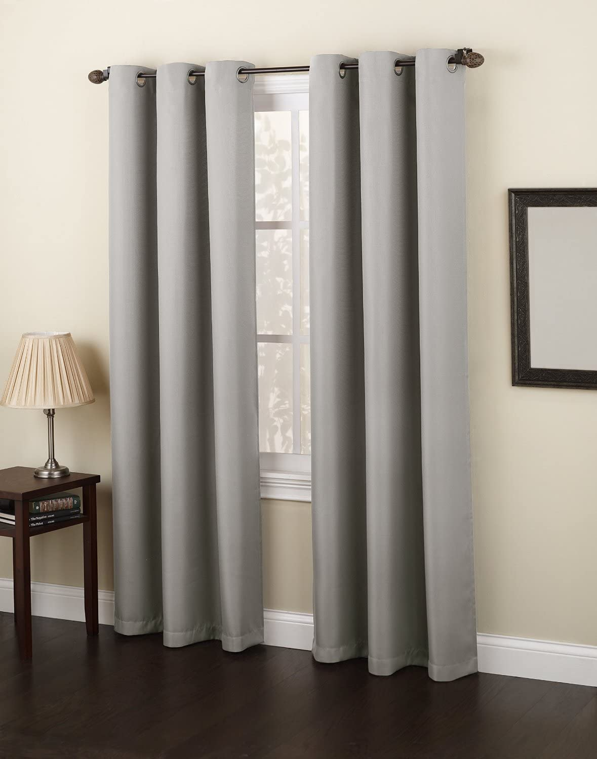 """Gorgeous HomeDIFFERENT SOLID COLORS & SIZES (#92) 1 PANEL SOLID FOAM LINED BLACKOUT HEAVY THICK MICROFIBER WINDOW CURTAIN DRAPES GROMMETS (GRAY, 84"""" LENGTH)"""