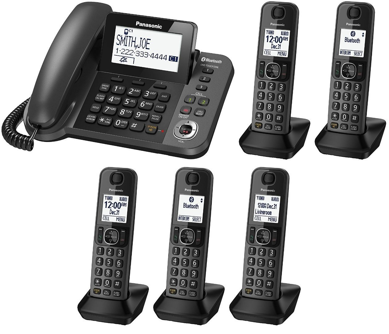 Panasonic KX-TGF383M plus two KX-TGFA30M handsets DECT 6.0 Plus Corded / Cordless 5-Handset Landline Telephone System (KX-TGF383M+2, KX-TGF382M+3, KX-TGF380M+4) (Certified Refurbished) by Panasonic