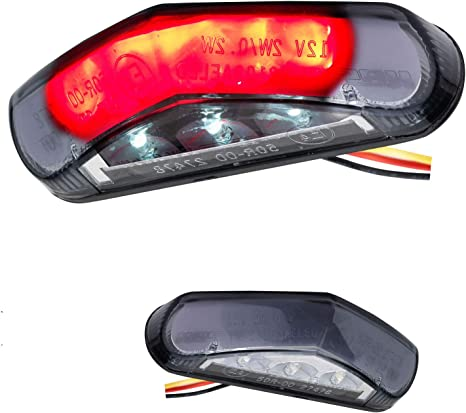 Led Mini Motorrad Rücklicht Bremslicht Mit Kennzeichenleuchte Triangle Schwarz Stealth Auto