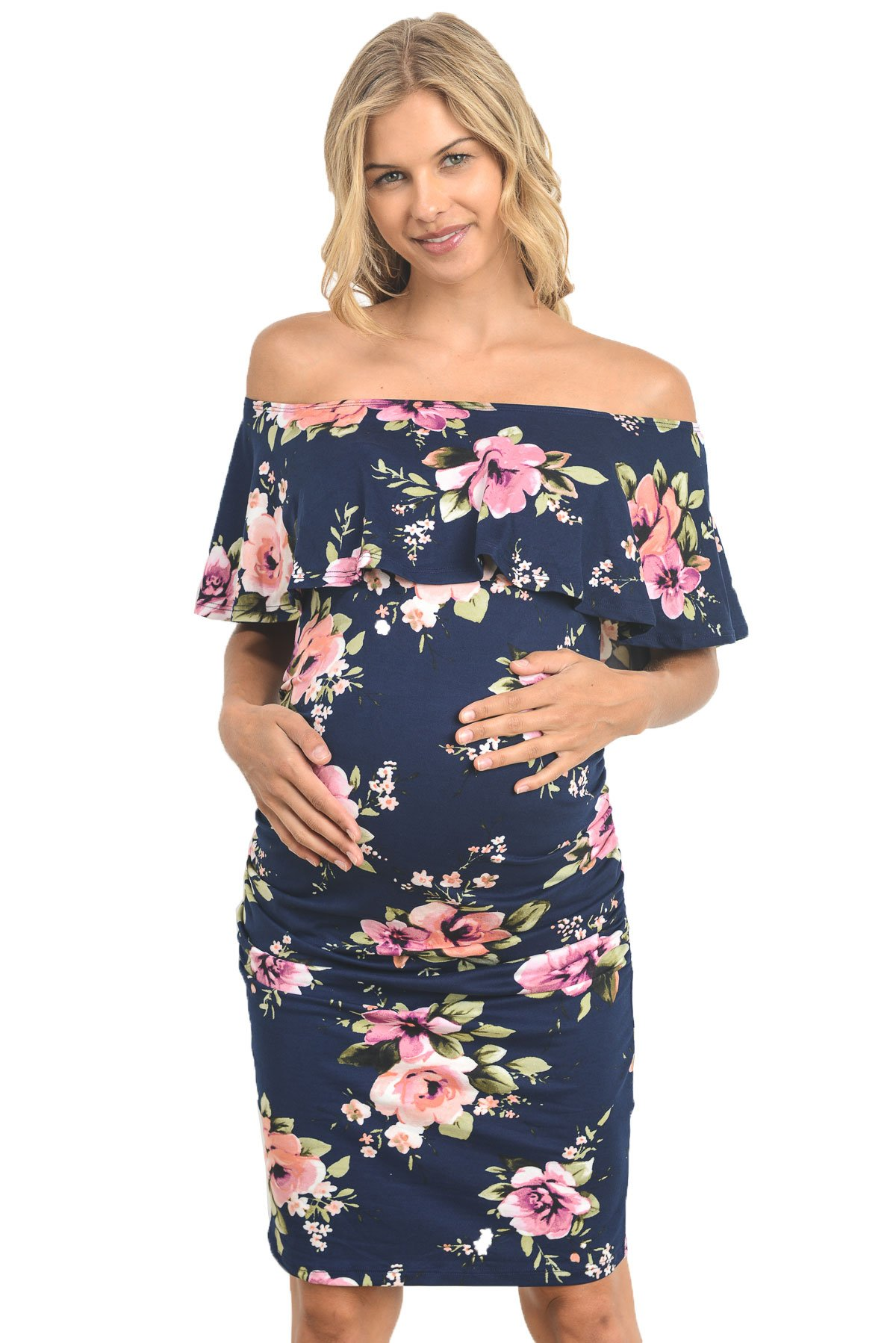 Hello MIZ Women's Floral Ruffle Off Shoulder Maternity Dress - Made in USA (Small, Navy)