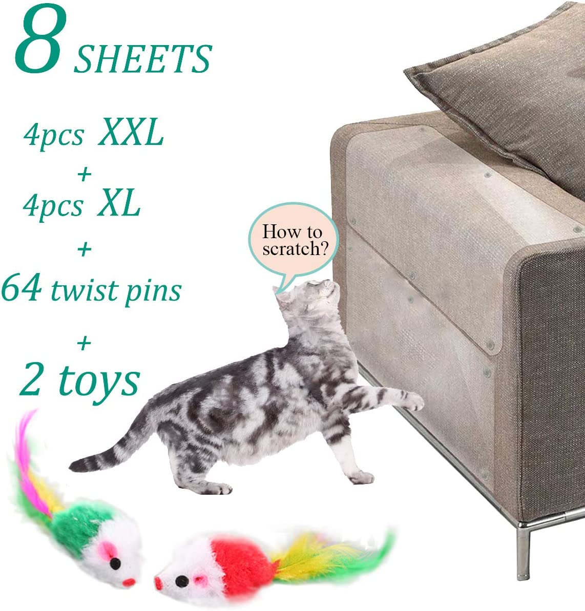 Cat Deterrent Tape, Cat Scratch Deterrent Products, Scratch Protection Tapes for Pet, an-ti Pet Scratch for Couch, Furniture Protector from Cats(8 Pcs)