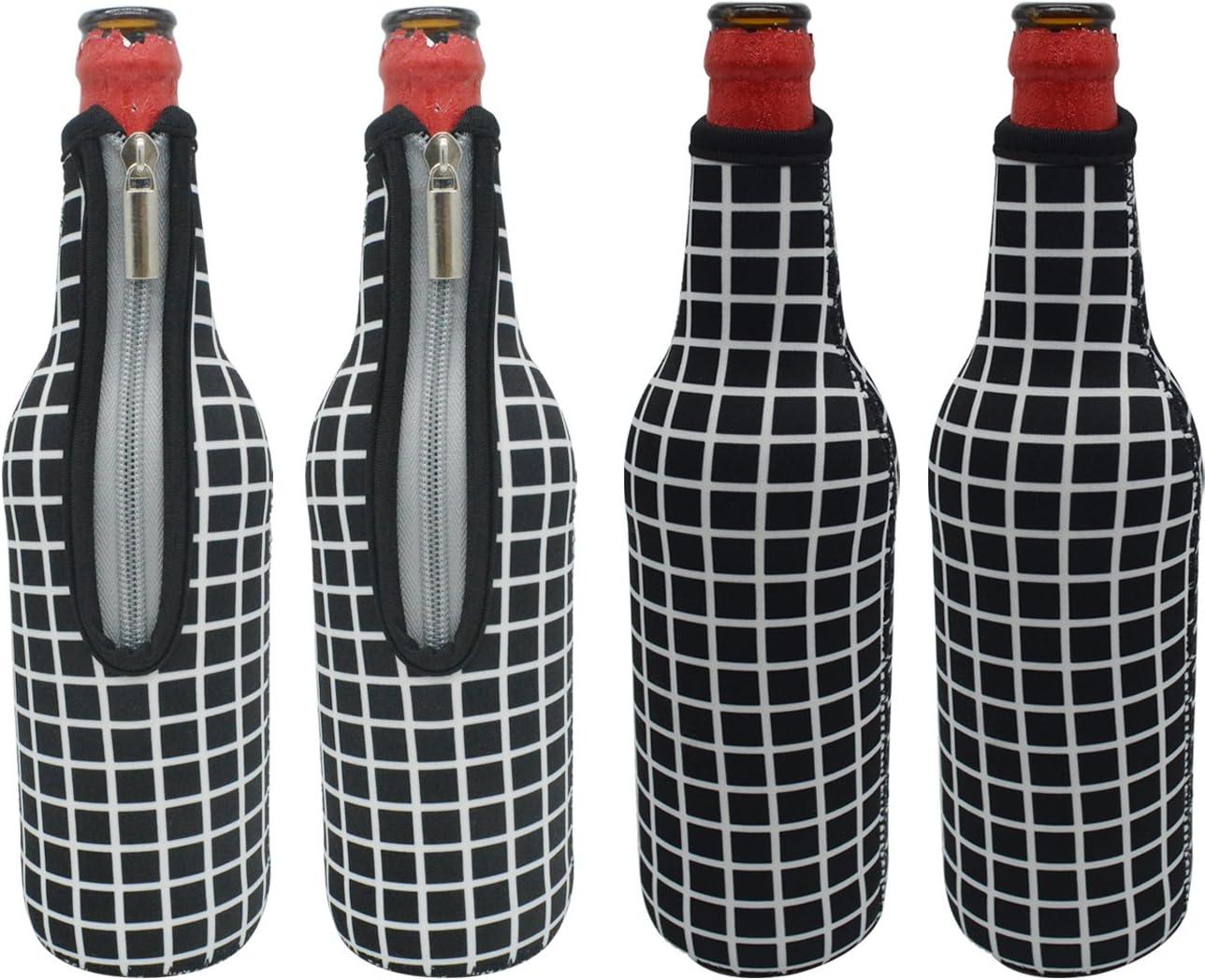 Orchidtent - Enfriador de botellas de cerveza con cremallera, 4 unidades de funda de neopreno aislado para botella de cerveza con funda de transporte para mantener tu bebida en casa (negro y niña)
