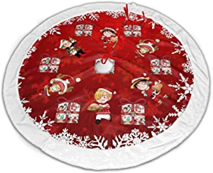 Aoocasi Anime One Piece Snowflake Gift Red 48 in Large Christmas Tree Skirt Carpet Soft Lightness with White Fluff Trim Border Decor for Xmas New Year Holiday Party Home Ornaments