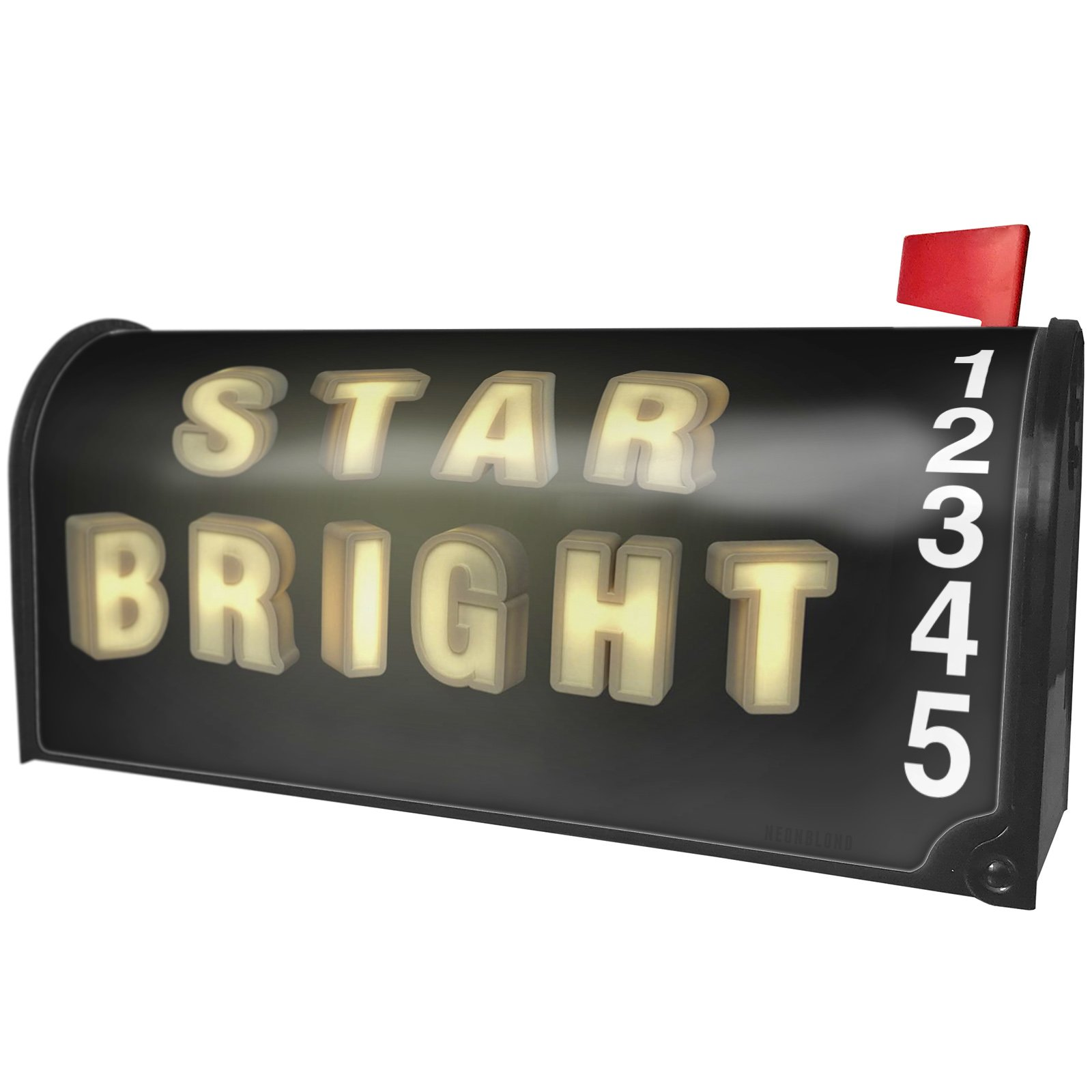 NEONBLOND Star Bright Glow Light Dark Magnetic Mailbox Cover Custom Numbers by NEONBLOND
