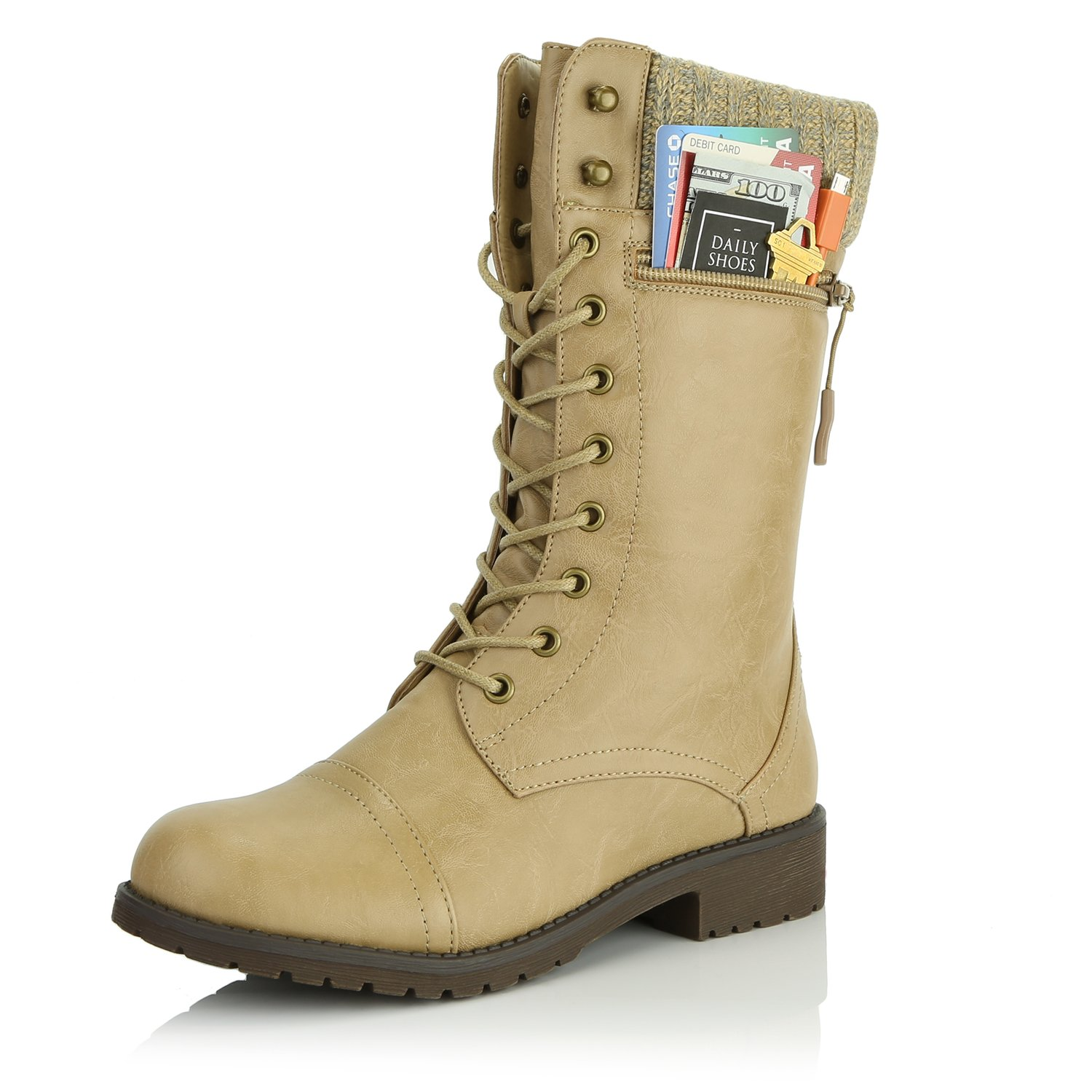 DailyShoes Women's Combat Style Lace up Ankle Bootie Round Toe Military Knit Credit Card Knife Money Wallet Pocket Boots, Beige Pu, 5.5