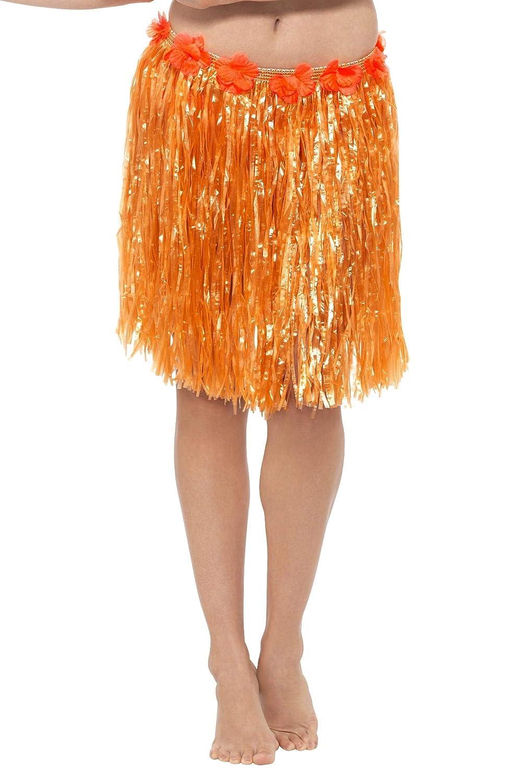 Smiffys Falda de Paja Hawaiana con Flores, Naranja Fluorescente ...