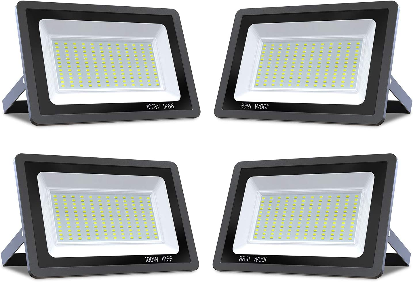 TURBO SII 4PCS Super Bright 100W LED Flood Light, 10000lm Outdoor Landscape Flood Light, Security Light, 6000-6500K, Work for Garage, Garden, Lawn,Yard and Playground (Cold White)