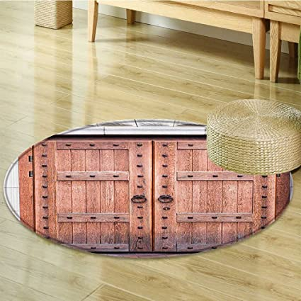 Amazon Com Non Slip Round Rugs Rustic French Wooden Door Entrance