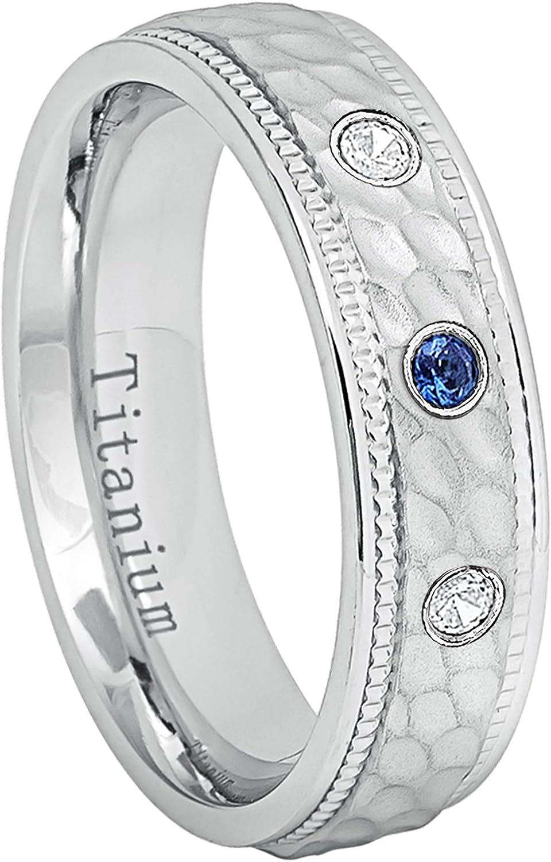 0.21ctw Alexandrite /& Diamond 3-Stone Titanium Ring 7MM Comfort Fit Polished Dome White Titanium Wedding Band