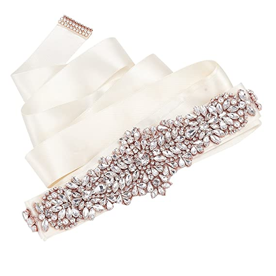 SWEETV Crystal Pearl Wedding Belt Bridal Sash Belt Applique for Party Prom Evening Dresses, Rose Gold: Amazon.co.uk: Clothing