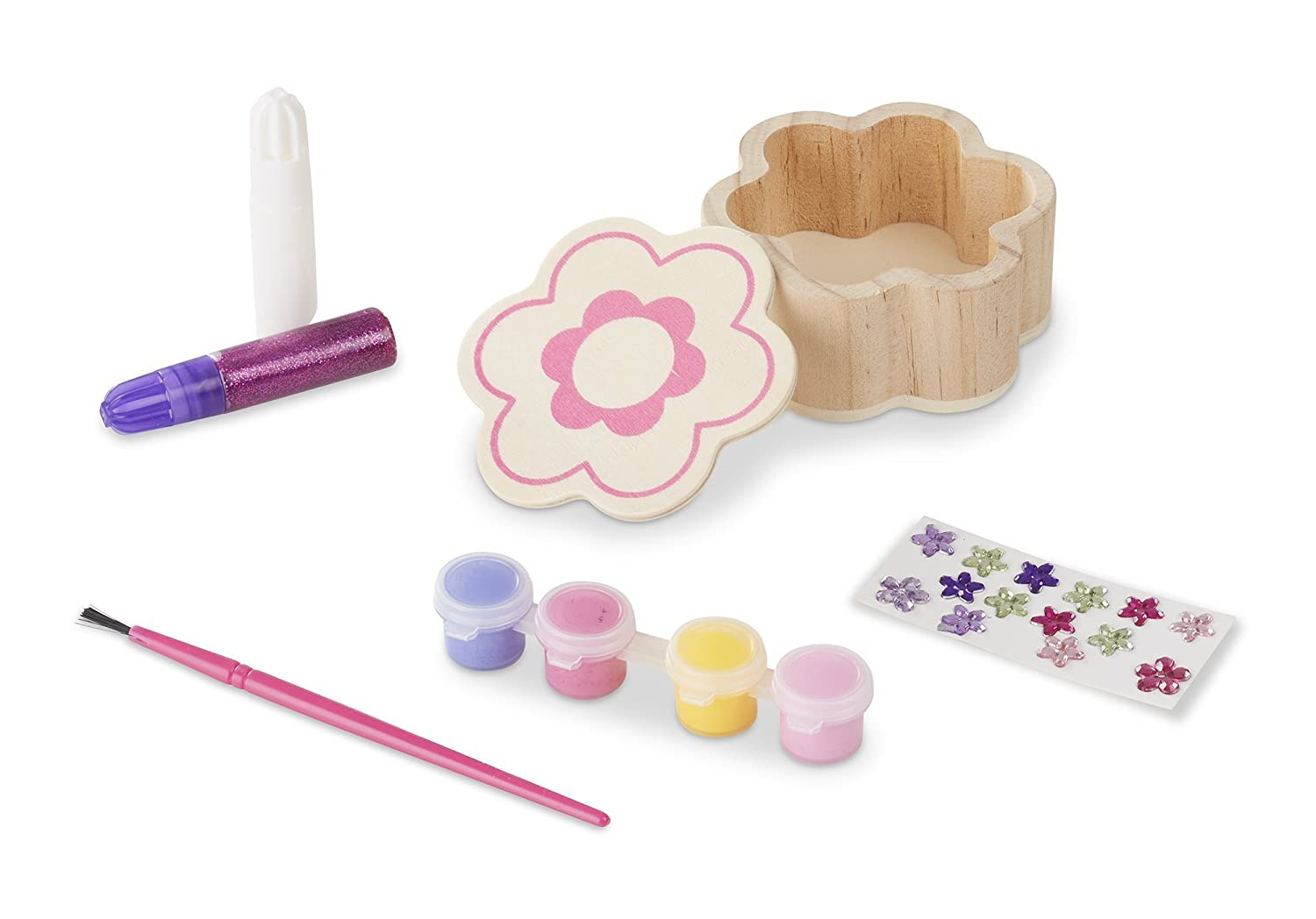 Melissa /& Doug Decorate-Your-Own Wooden Flower Box Craft Kit 8852
