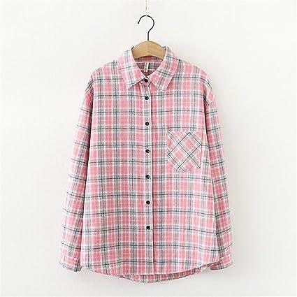 2020 Moda Mujer Camisa a Cuadros Chic Checked Blusa Manga ...