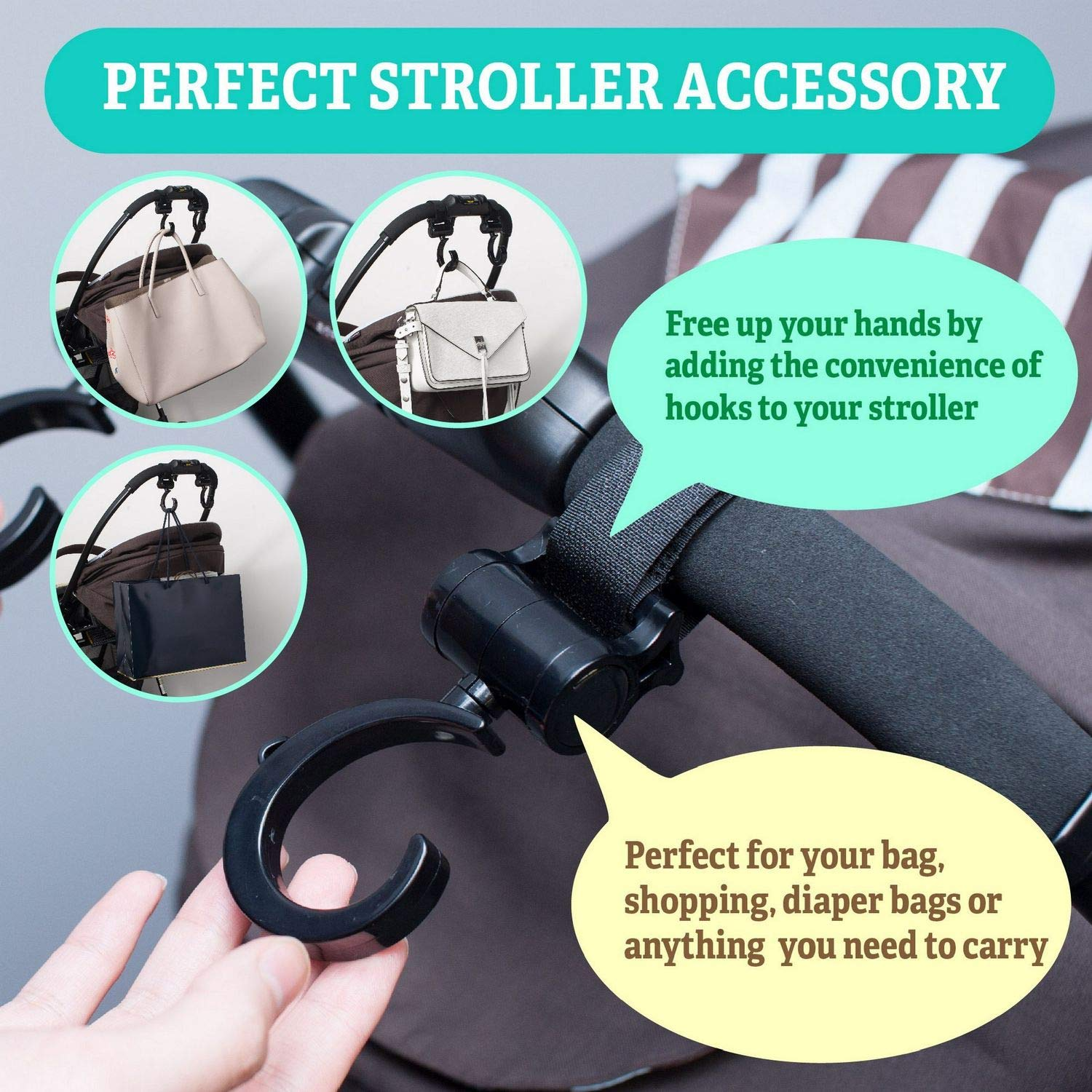 Ultra Durable Multi Purpose On Any Baby Stroller Insten 2 Pack Stroller Hook Purses 360 Degree Adjustable Angles Perfect Hanger for Diaper Bags Shopping Bags Baby Stroller Hooks Clothing