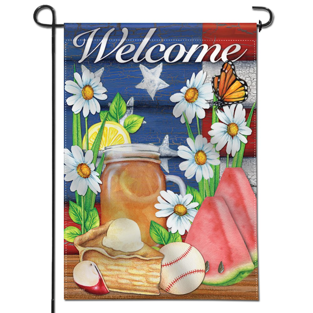 Anley |Double Sided| Premium Garden Flag, American Summer Welcome Decorative Garden Flags - Weather Resistant & Double Stitched - 18 x 12.5 Inch