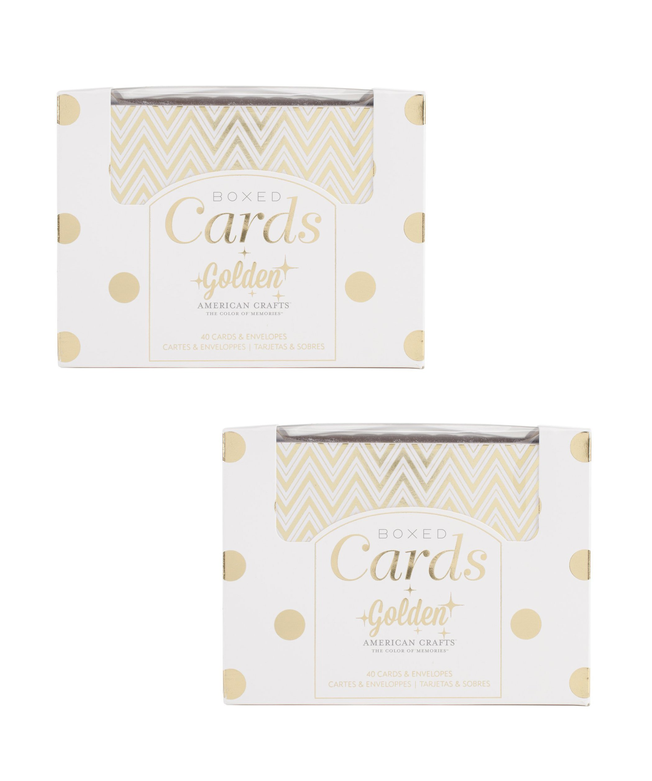 "A2 Card & Envelope Golden Box Set (4.24""X5.5"") with Shiny Gold Foil Treatments by American Crafts, 40 Cards And Envelopes Per Box. Perfect for Everyday, Holiday, Special Occasion Card Giving (2 Pack)"