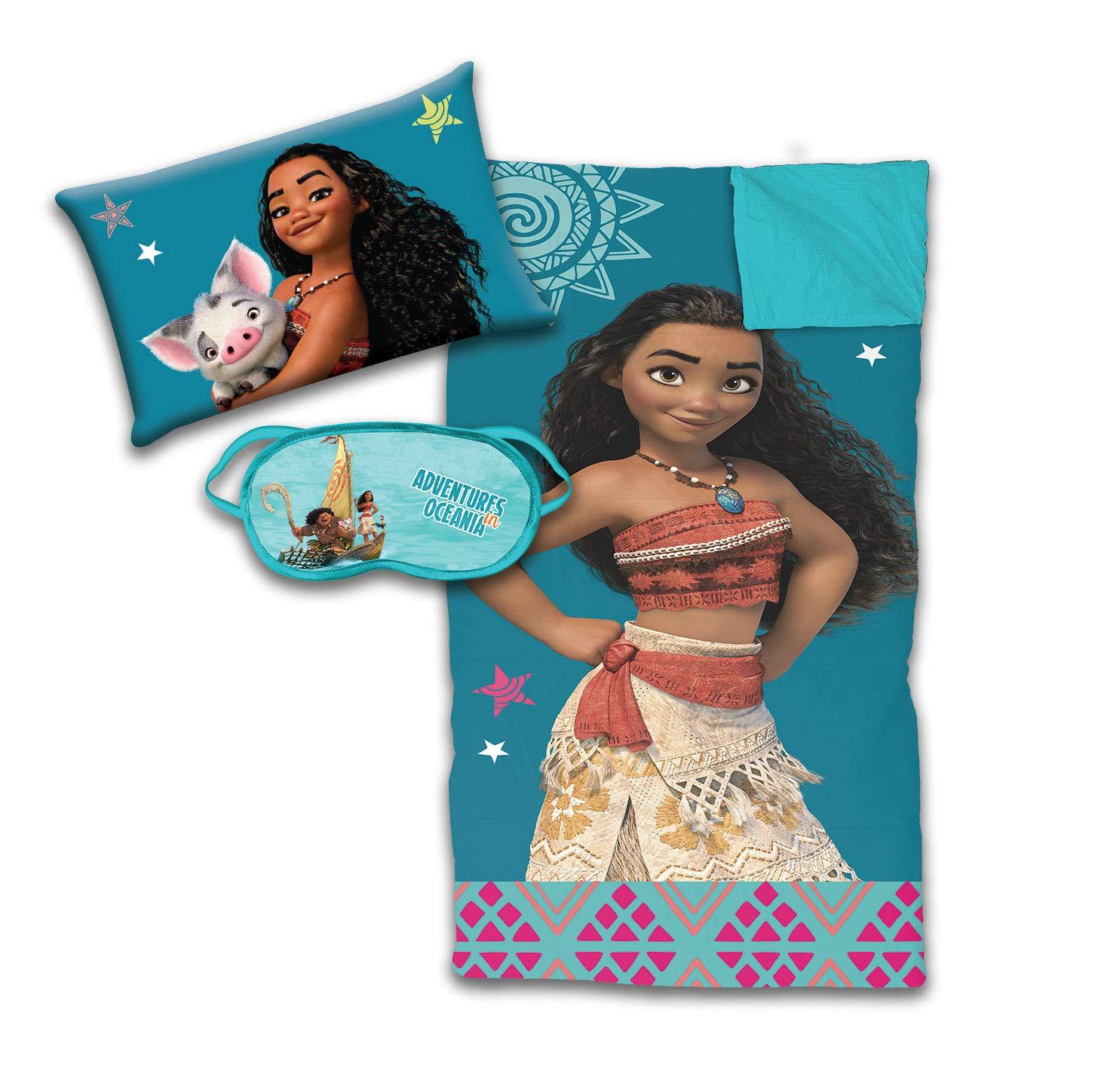 Jay Franco Disney Moana 3 Piece Sleepover Set - Cozy & Warm Kids Slumber Bag with Pillow & Eye Mask - Featuring Pua (Official Disney Product)