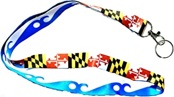 Maryland Flag and Blue Wave Ocean City Double Sided Souvenir Lanyard