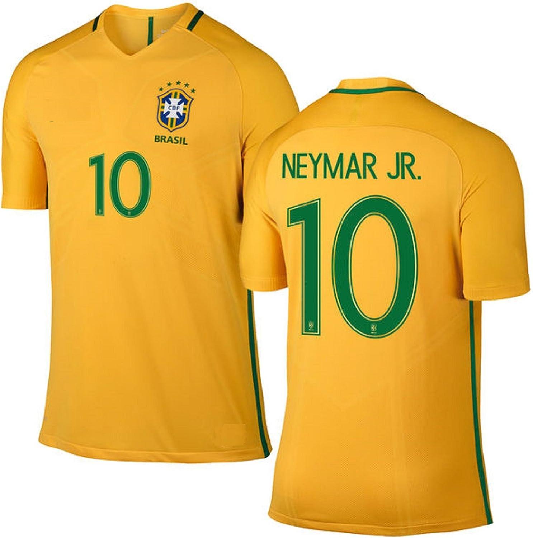 Neymar Jersey Brazil Home Short Sleeve Kids Soccer Jersey Neymar Jr Gift Set Youth Sizes ✓ Drawstring Backpack Gift Packaging