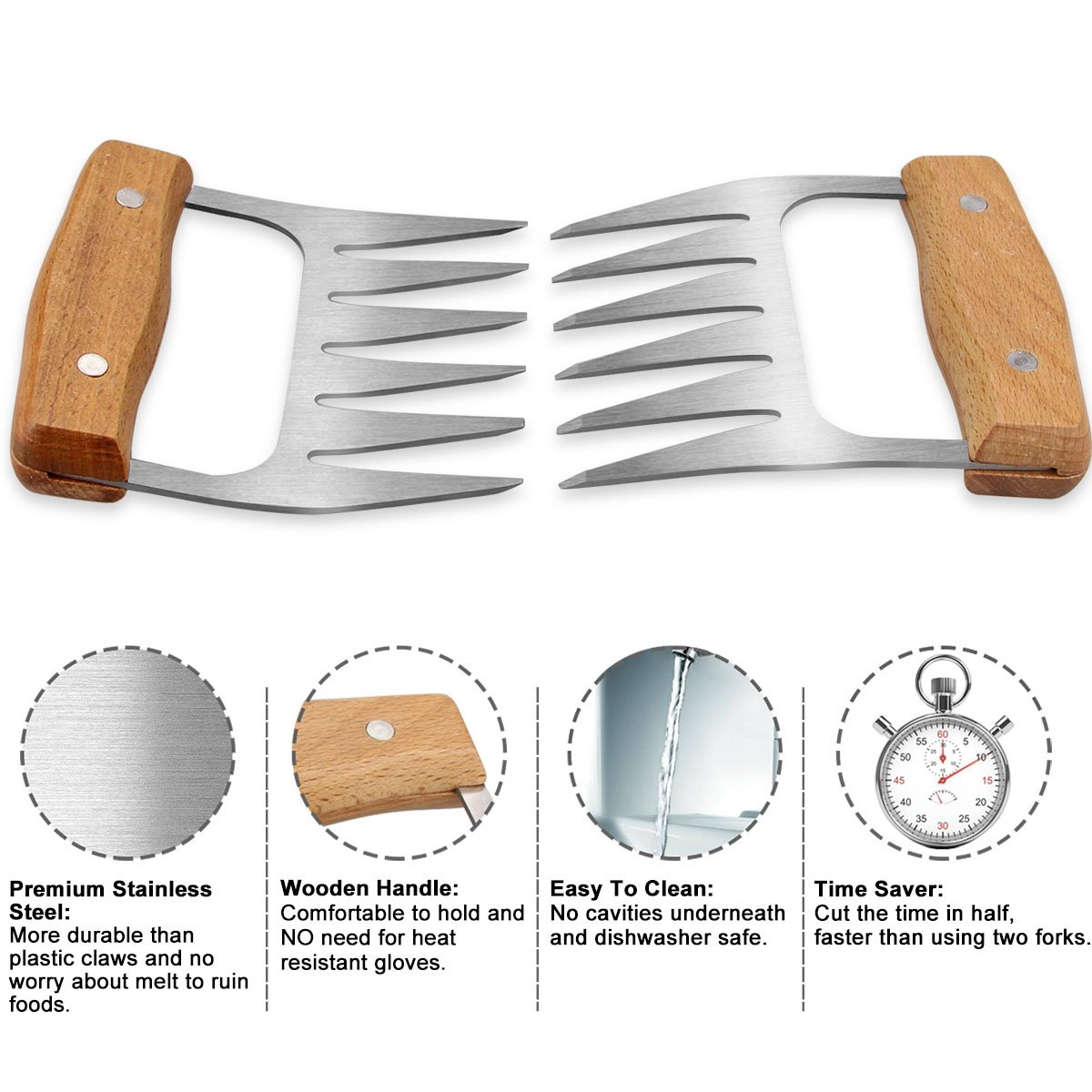 Wedama Metal Pulled Pork Shredder Meat Claws 2 Pcs Stainless Steel Bear Barbecue Meat Handling Shredding Claws BBQ Meat Handler Forks with Wooden Handle for Shredding Pulling Handing Lifting Meat