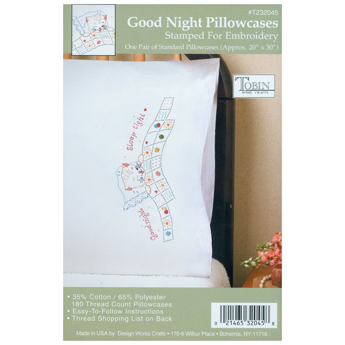 Tobin Stamped Pillowcase Pair Stamped Cross Stitch Kit for Embroidery, 20 by 30-Inch, Good Night T232045