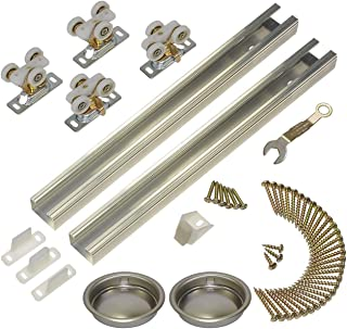 product image for Johnson Hardware 111SD 96 in. 2-Door Heavy Duty Bypass Track/Hardware Set for 3/4 in. Or Thicker Doors to 150 lbs.