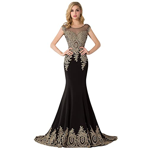 MisShow Womens Embroidery Lace Long Mermaid Formal Evening Prom Dresses